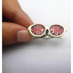 Fashion Bronze Meital Cute Glass Flag Enamel Lovely Double Finger Ring R-0193