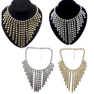 New Fashion Charming Round Paillette Tassel Choker Bib Necklace N-1753