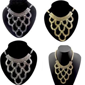 European Style Flat Snake Chain Charming  Rhinestone Choker Bib Necklace N-1043