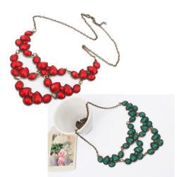 Bohemian Fashion Bronze Metal Drop Resin Gem Stone Lovely Choker Bib Necklace N-0287