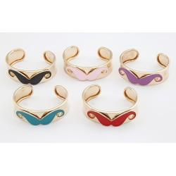 New Cosplay Cuff Bangle Enamel Mustache Gold Tone Opened Bracelet B-0231