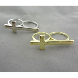 Wholesale 2Pcs Silver/Gold Cross Double Fingers Ring #6 and #8 Size R-0514