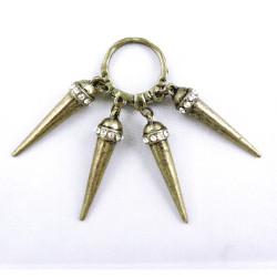 Punk Rock Vintage Style Crystal Metal Heavy Rivet Tassels Ring #5.5 Size R-0139