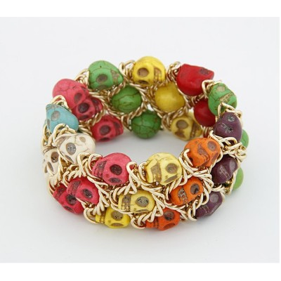 B-0074 New Fashion Gold Plated Metal Colorful Skull Stone Bracelet