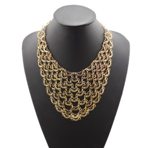 N-1772 New European Style Vintage Gold Metal Lace Flowers Hollow Out Collar Bib Necklace