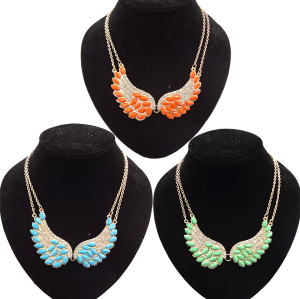 N-2764 New Fashion Lovely Gold Tone Wing Bead Feather Charming Rhinestone Double Chain Choker Bib Necklace