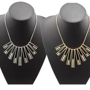 N-4527 New Fashion Silver/Gold Tone Geometrical Black Enamel Rhinestone Choker Necklace