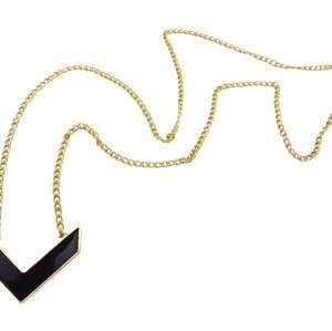 N-4560 New Gold Tone Arrow Route Sign Shape Black Enamel Cute Pendant Necklace