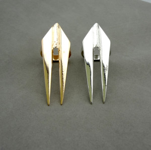 R-0109 Wholasale 2Pieces Gold Silver Metal Punk Double Rivet Sharp Ring