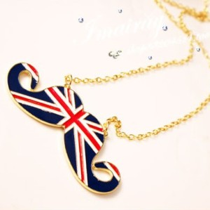 N-2833-BL New Gold Plated Metal Enamel UK Stripe Flag Mustache Pendant Long Chain Necklace