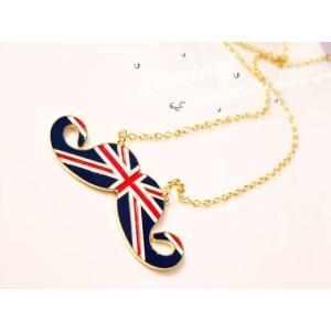 N-2833-BL New Gold Plated Metal Enamel UK Stripe Flag Mustache Pendant Long Chain Necklace