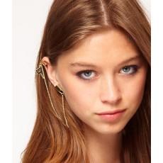 E-0027 New Coming Fashion Gold Tone Metal Key Tassel Lock Ear Stud Ear Cuff