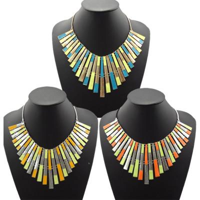 N-4598 New Fashion Enamel Geometrical Silver/Gold Tone Metal Choker bib necklace