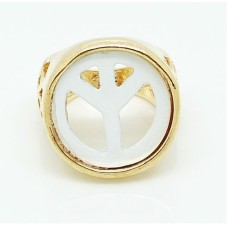R-1070 New Arrival White Peace Symble Hollow Out Gold Metal Fashion Lovely  Ring