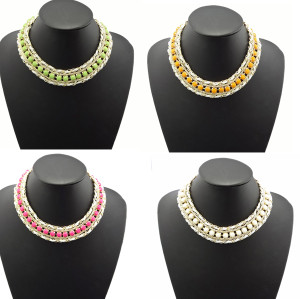 N-0571 New Arrival Fashion Gold Plated Resin Gem Choker Bib Statement Necklace
