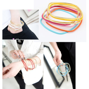 Fashion Classic Multi Strands 8 Piece Metal Square Bangle Bracelet Set