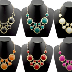 N-0767 New Resin Facets Round Crystal Charms Golden Choker Bib Necklace
