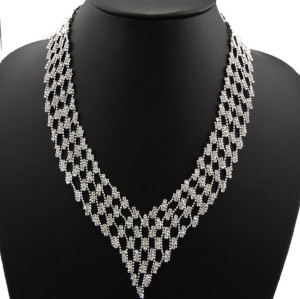 N-2255 Hot Wedding Part Jewelry Crystal Metal Beads Hollow Out Choker Bib Necklace