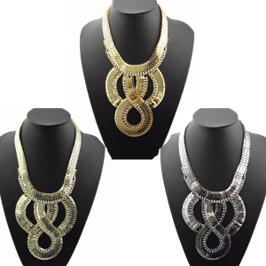 N-1254 Hot 3 Colors Chunky Rhinestone Snake Wide Chain Flat Curb Link Bib Necklace