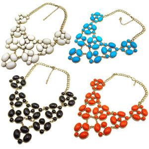 N-0794 Vintage Gold Resin Ellipse/Round Gem Choker Bib Necklace Color Choose Jewelry