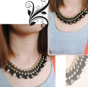 N-2047 New Arrival Fashion Gold Tone Rivet Crystal Lace Pattern Choker Bib Necklace