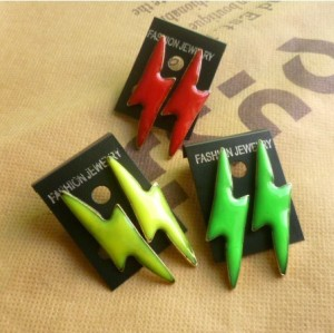 E-2030 New Coming Cool Bronze Metal Enamel Lighting Ear Stud Earring