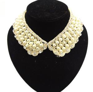 N-2068 Hot Charming Handmade Pearl Lace Flower Crystal Collar Choker Bib Necklace