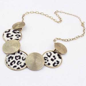 N-2105 Fashion  Vintage style Spiral disc leopard choker Necklace