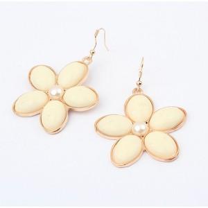E-0230 gold plated metal cream/black tone gem flower  dangle Earrings