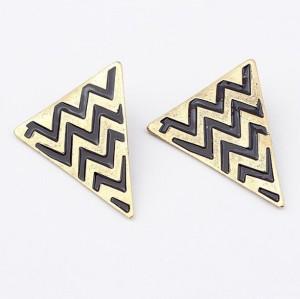 E-2051 vintage style bronze alloy large Triangle Earrings enamel ripple ear stud