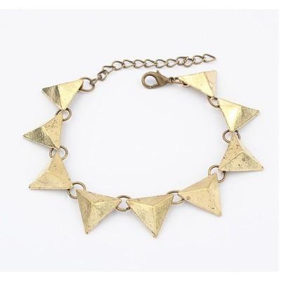 B-0089 Punk Fashion Bronze Black Metal Geometrical Triangle Bracelet