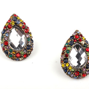 E-0511 Vintage Style Bronze Alloy Colorful Rhinestone Clear Crystal Egg Drop Ear Stud