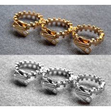 R-0142 Wholesale 2Pieces Punk Silver/Gold Metal Zippers 3Fingers Ring