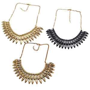 N-1863 New Lovely 2Rows Drop Gold Black Vintage Gold Metal Choker Bib Necklace