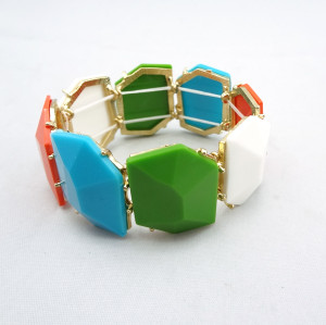 B-0007 New Charming Fashion Colorful Resin Gem Lovely Bracelet