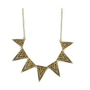 N-4522-VB New Vintage Style Silver/Bronze Metal Triangles Choker Necklace