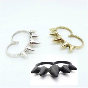 R-0153 Wholesale 3Pieces Punk Vintage Silver/Gold/Black Metal Rivet Double Fingers Ring