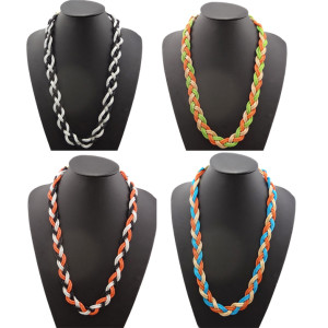 N-1045 New Charming Bohemia Multi Strand Metal Snake Chain Braided Necklace