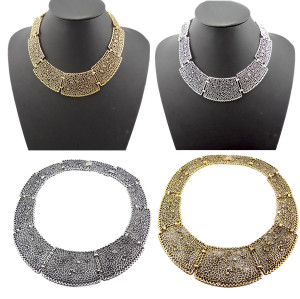 N-1858 New Vintage style Silver/Gold Metal Flower Hollow OUT Pieces Choker Bib Necklace