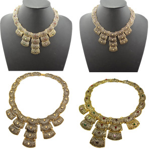 N-1801 New Vintage Gold Tone Metal Hollow Out Rhinestone Pieces Choker Bib Necklace