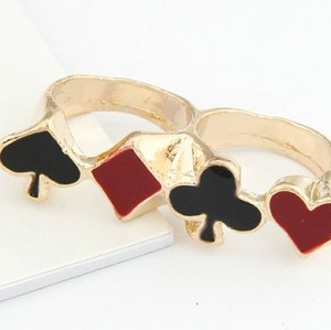 R-0608 New Fashion Black Red Enamel Poker Card Design Double Fingers Ring