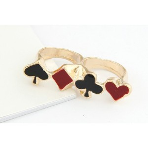 R-0608 New Fashion Black Red Enamel Poker Card Design Double Fingers Ring