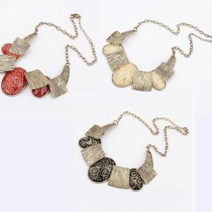 N-1016 Fashion Bronze Tone Metal Wire Print Ellipse Resin Gem Choker Necklace