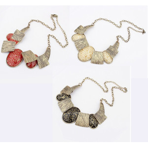 N-1016 Fashion Bronze Tone Metal Wire Print Ellipse Resin Gem Choker Necklace