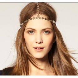F-0002 Fashion Charming Gold/Vintage Gold Tone Metal Round Hand Band Hair Band