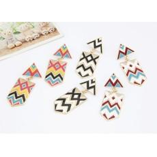 E-2013 New Contrast Color Enamel Geometrical Pattern Ear Stud Ladies Earrings