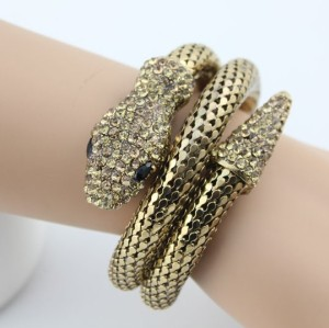 B-0096 New Punk Fashion Cool Bronze Tone Snake Bracelet Bangle