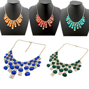 N-0278 New Golden Rhinestone Crystal Facets Gem Statement Choker Bib Necklace