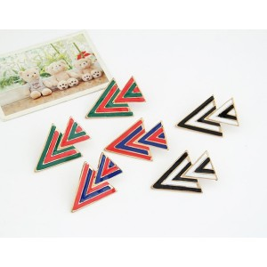 E-2010 European Fashion  Enamel Gold plated Metal Geometric Triangle Ear Stud