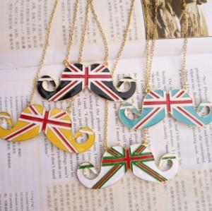N-2833 New Charming Lovely Enamel UK Stripe Flag Mustache Pendant Necklace